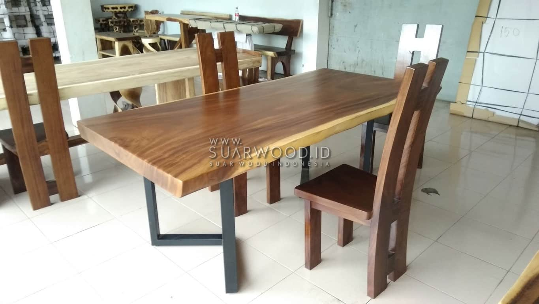Suar Wood Table Semi Square With Metal Leg Suar Wood Specialist